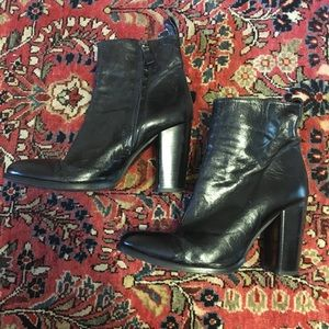 ZARA Black Leather Heeled Boots
